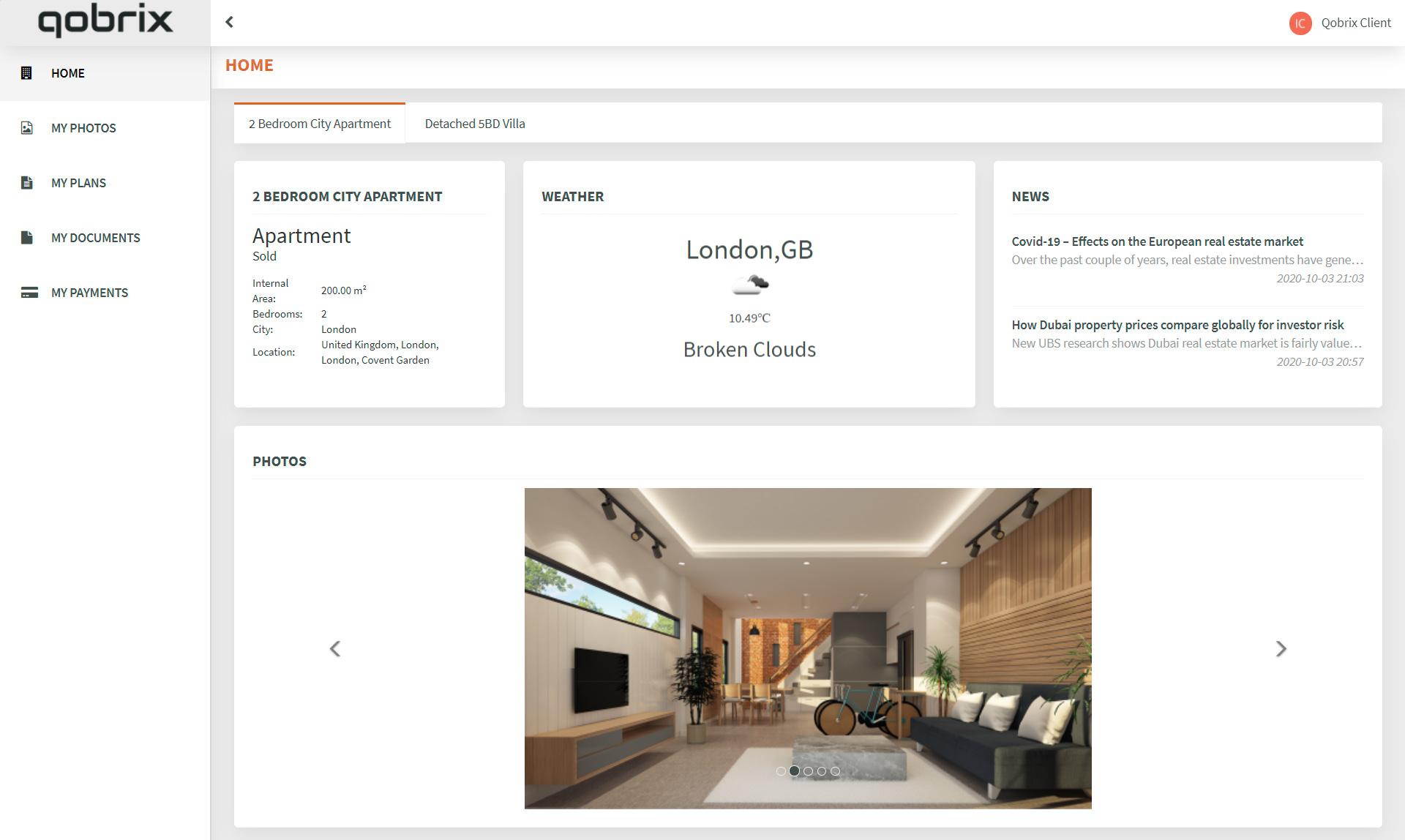 Real Estate Client Portal dashboard