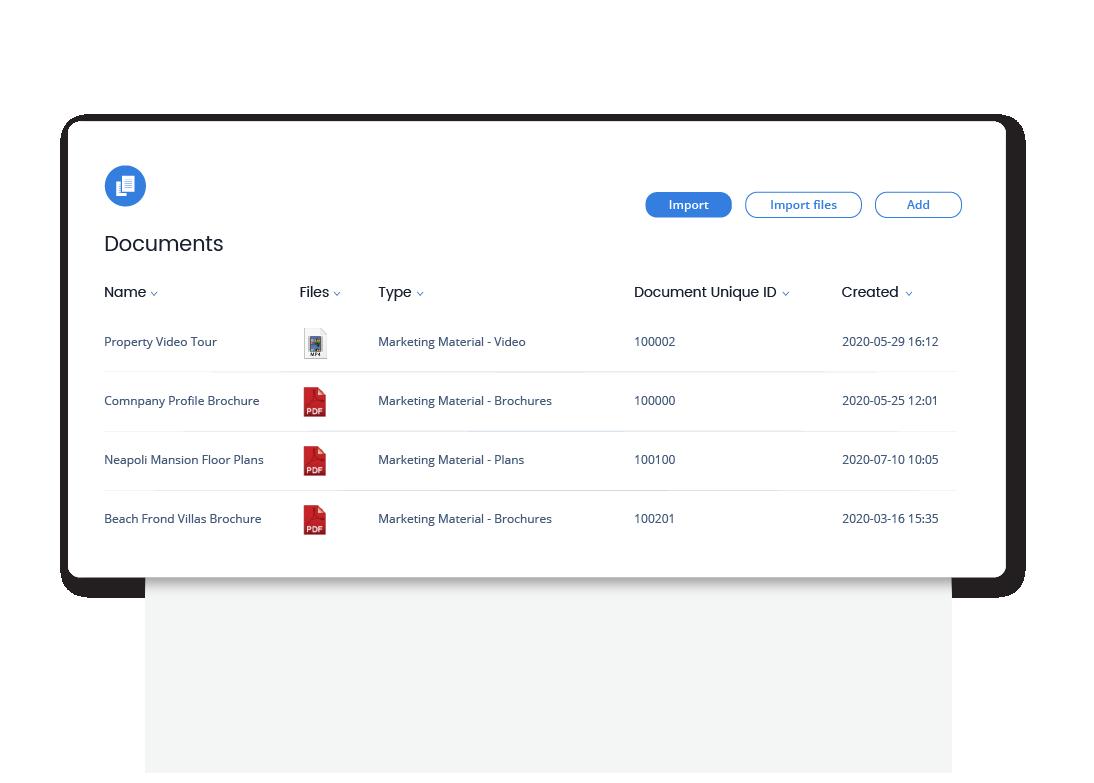Qobrix CRM Document Management - Marketing archive