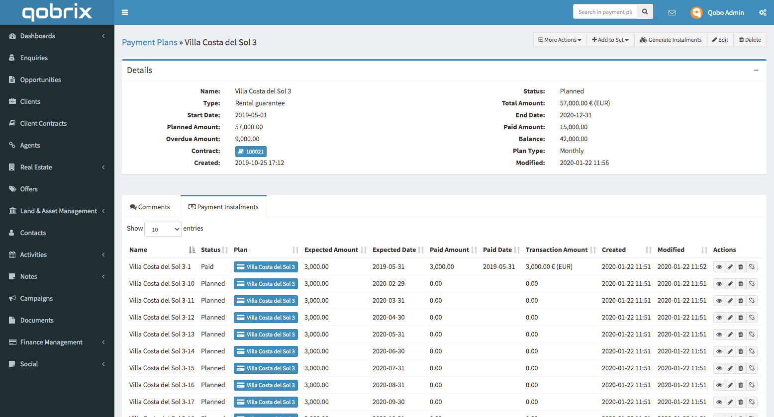 Qobrix Finance Management Module