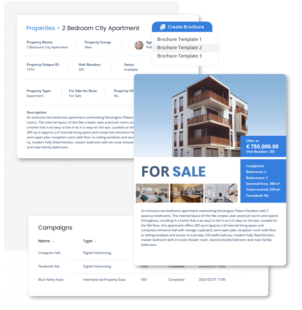Use the Brochure creator, Campaigns and email & sms functionalities to keep track of your marketing efforts in Qobrix real estate crm system