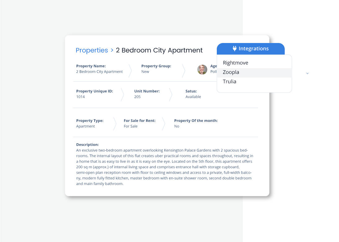 Integrate with real estate portals to promote your listings and other 3rd party platforms