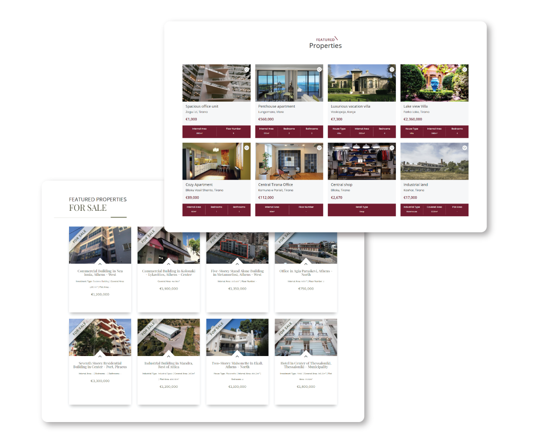 Featured properties on website