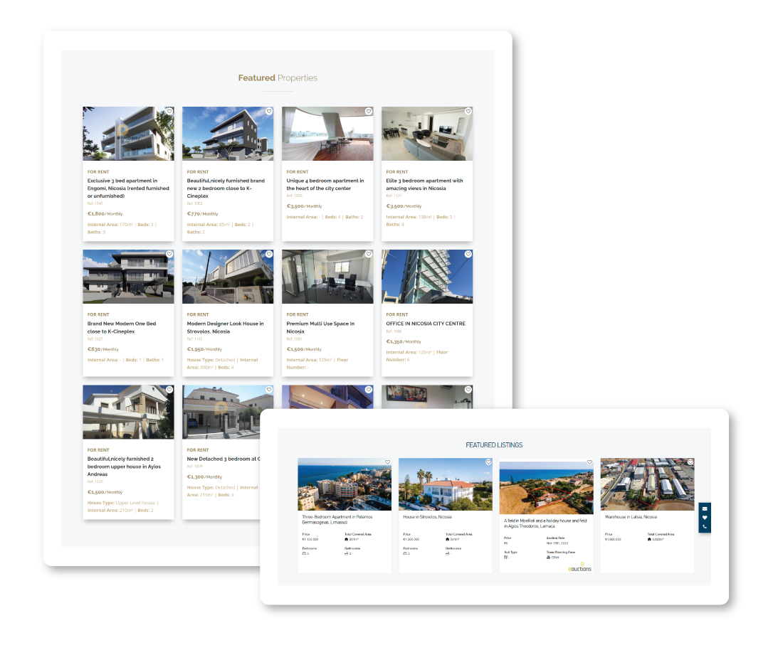 Featured properties on real estate website