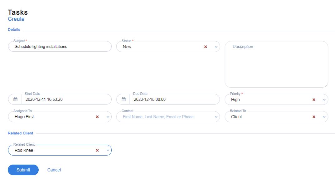 Adding tasks for real estate in Qobrix CRM