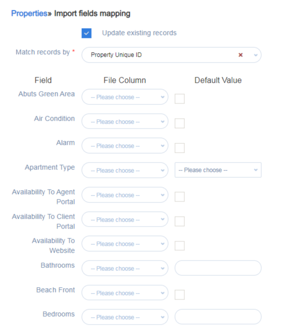 Import data with property mapping