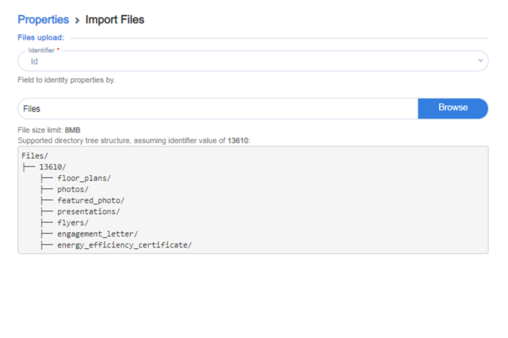Importing images to properties
