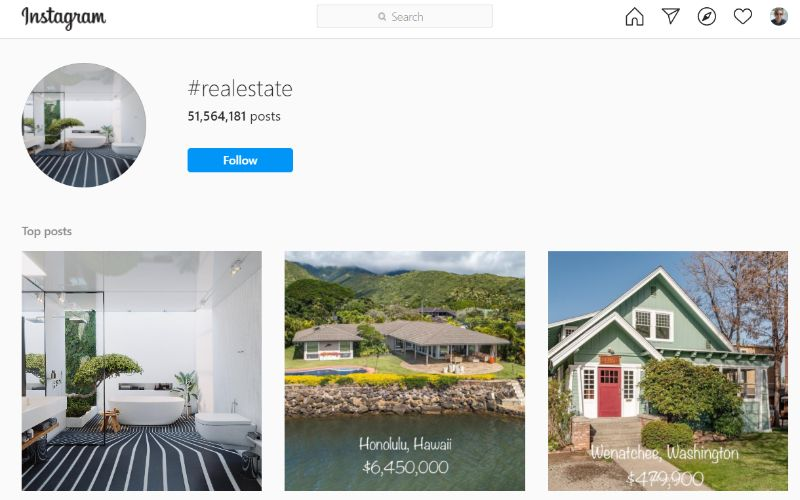 Real estate hashtags on Instagram